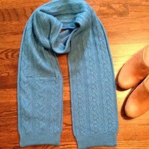 Long Blue Wool Blend Scarf w/pocket.